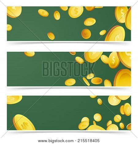 Falling money rain over green flyers collection. Flying realistic 3D prize coins header footer web cards set. Lottery Cash. Casino prize. Million dollars jackpot loon in the air. Vector illustration