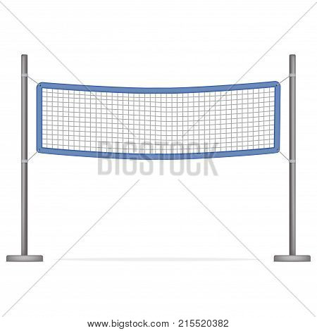 Realistic Detailed 3d Volleyball Net for Sport Game, Activity Leisure Isolated on White Background. Vector illustration of Beach Play Element