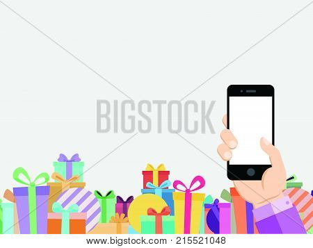 The online mobile shop business template background with colorful gift box footer
