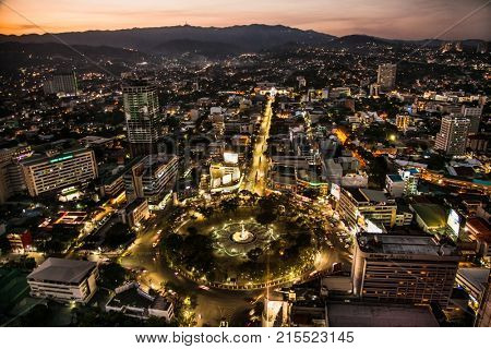 CEBU CITY, PHILIPPINES-MARCH 25, 2016: Panoramic view of Cebu city in sunset on March 25, 2016, Philippines. It is the Philippines's second most significant metropolitan center and main domesti port