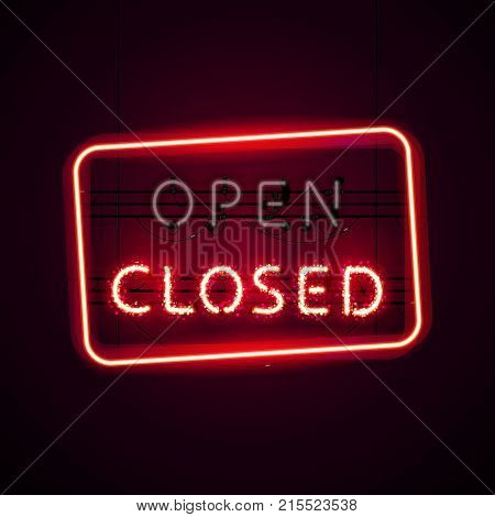 Glowing neon Closed sign with magic sparkles on dark red background and turned off Open sign. Used vector brushes are included. There are fastening elements and letters in a symbol palette.