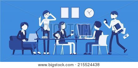 Busy day in a small office. People working together, close teamwork and communication, co-workers in friendly and noisy environment. Vector business concept illustration with faceless characters
