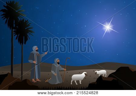 Christmas time. The shepherds in the fields with sheeps.