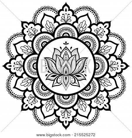 Circular Pattern In The Form Of A Mandala. Henna Tatoo Mandala. Mehndi Style. Decorative Pattern In