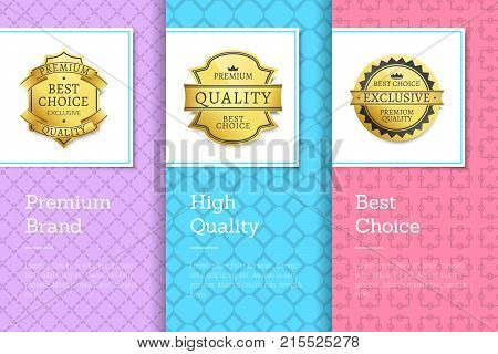 Premium brand high quality best choice golden labels set of logos design on colorful posters with text vector illustrations on abstract backgrounds