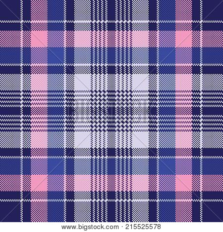 Blue pink check plaid pixel seamless pattern. Vector illustration.