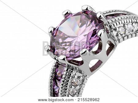 Crop of jewelery ring with gem isolated on white