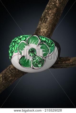 macro of Jewelery ring on twig dark background