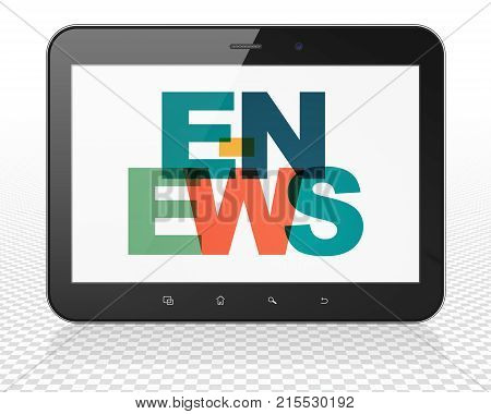 News concept: Tablet Pc Computer with Painted multicolor text E-news on display, 3D rendering