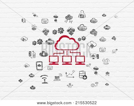 Cloud networking concept: Painted red Cloud Network icon on White Brick wall background with  Hand Drawn Cloud Technology Icons