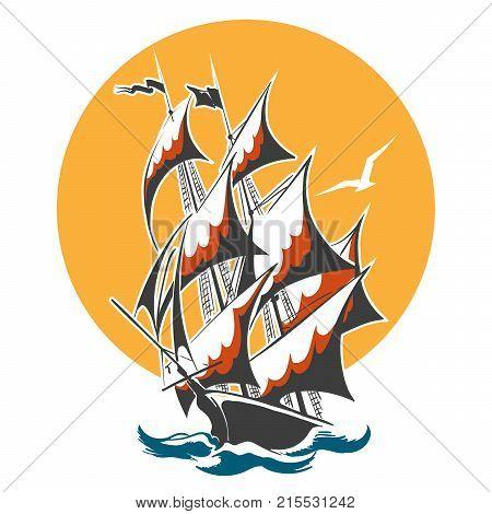Sail ship emblem. Old vessel in stormy ocean. Vector illustration.