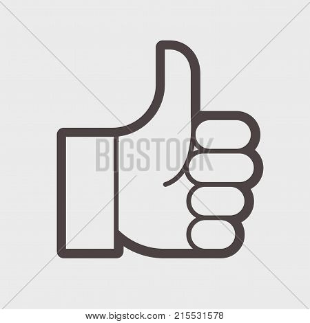 Gesture of admiration. Hand with thumb up. Showing direction, selection. vector illustration