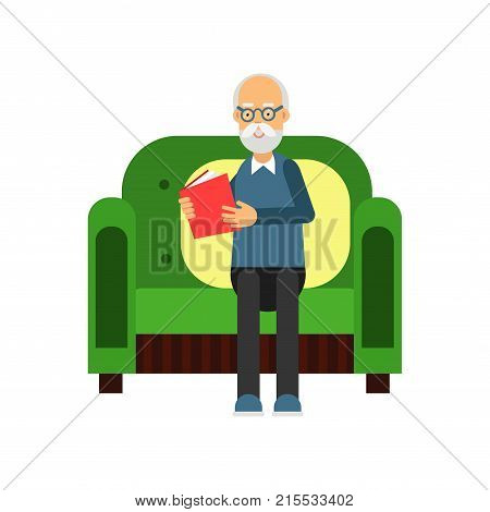 Senior man sitting on the green sofa and reading a book, pensioner people leisure and activity vector Illustration isolated on a white background