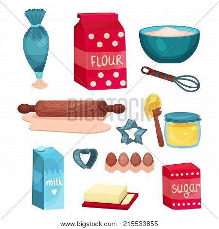 Bakery set, equipment and food ingredients for baking and cooking vector Illustrations isolated on a white background