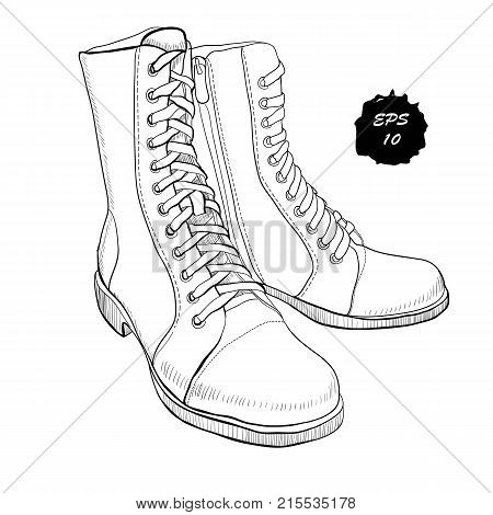 Vector illustration of hand drawn graphic Men and women Footwear, shoes. Shoe for casual and sport style, gumshoes, boots for cold seasons. Doodle, drawing Design isolated object.