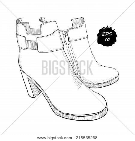Vector illustration of hand drawn graphic women Footwear, shoes. Shoe for casual andclassical style, gumshoes, boots for cold seasons. Doodle, drawing Design isolated object.