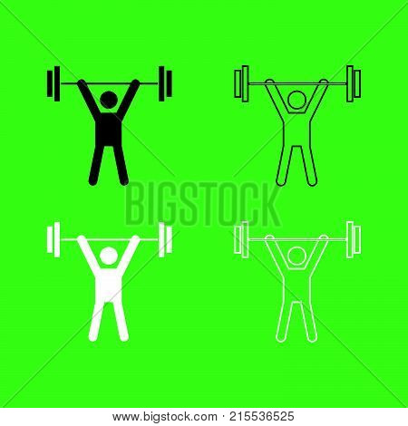Man Uping Weight Icon  Black And White Color Set