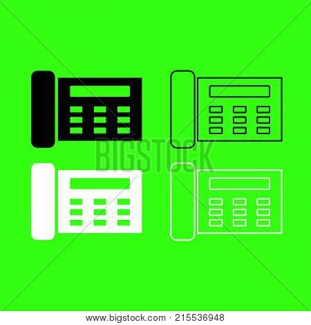 Fax Icon  Black And White Color Set