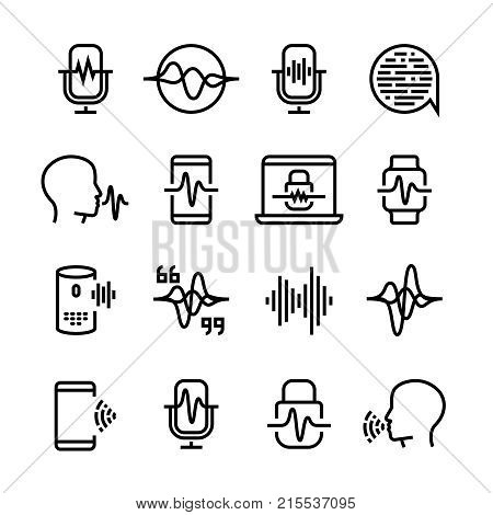 Voice and speech recognition, cellular network vector icons. Mic command and hearing symbols. Illustration of voice recognition, innovation command