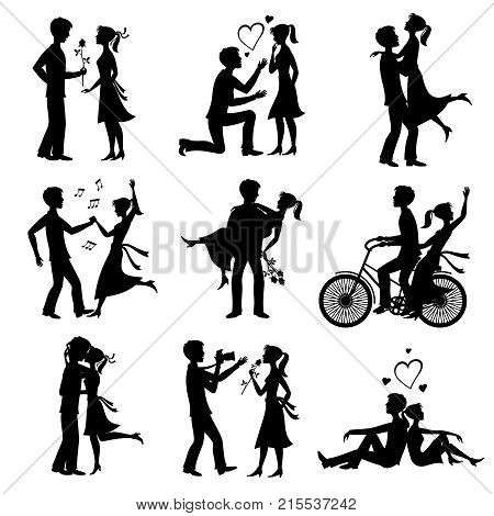 Happy couples in love just married bride and groom vector black silhouettes. Black bride and groom, wife and husband, wedding woman and man illustration