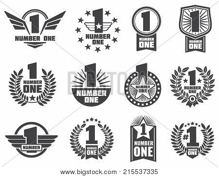 Vector number one retro corporate identity logos and labels. Set of one number logo, first numerical logotype illustration