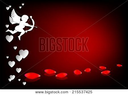 Design with cupid onion and arrow and with scattered rose petals