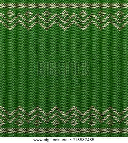 Knit christmas geometric background space for text. Realistic xmas horizontal seamless vector pattern. Knitted winter green sweater texture. Traditional Fair Isle Style ornament. New Year Design