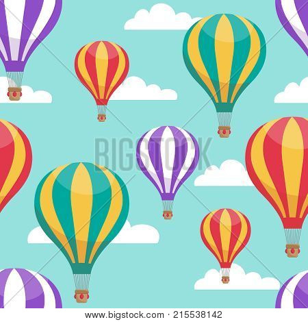 Cartoon hot air balloons in blue sky vector seamless pattern for air travel concept. Illustration of striped air balloon pattern