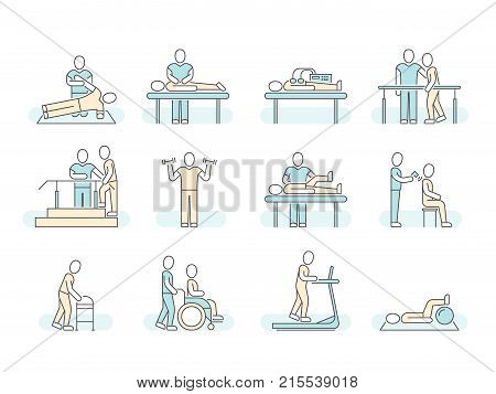 Massage therapy spa physiotherapy vector line medical icons. Therapeutic symbols and recuperation, physiotherapist rehabilitation illustration poster
