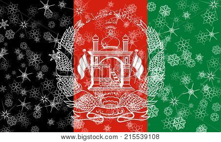 Afghanistan winter snowflake flag, illustration Afghanistan flag