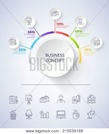 Business concept scheme consisting of title in circle and icons of paper and pencil, e-mail letter and man, text and percentage on vector illustration