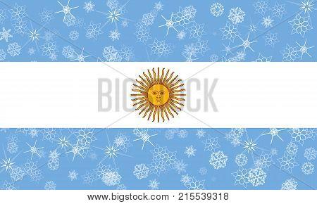Argentina winter snowflake flag, Argentina flag illustration