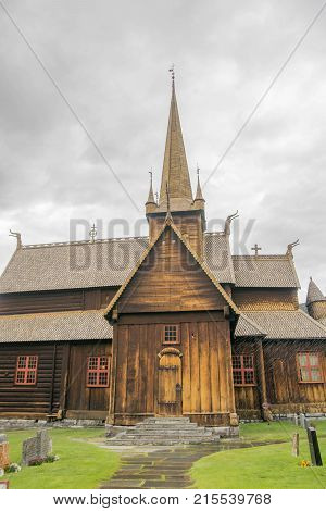 Wood old architecture attraction in Scandinavia Norway