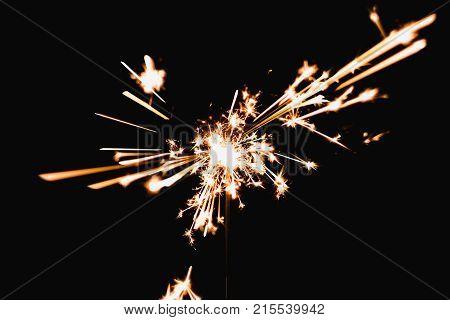 Burning Sparkler Blast On A Black Background At Night,holiday Celebration Event Party.