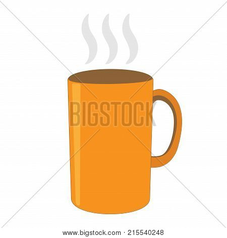 Orange tea cup sign. Image of breakfast element. Beautiful color icon isolated on white background. Hot beverage symbol. Logo for cafe or restaurant menu. Takeaway label. Stock vector illustration
