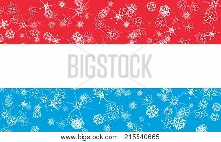 Luxembourg winter snowflake flag, illustration Luxembourg flag