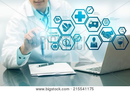 Doctor With Health Insurance Modern Interface Icon