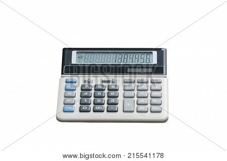 Calculator isolated on white background. modern calculator. a silver calculator. Light energy calculator.