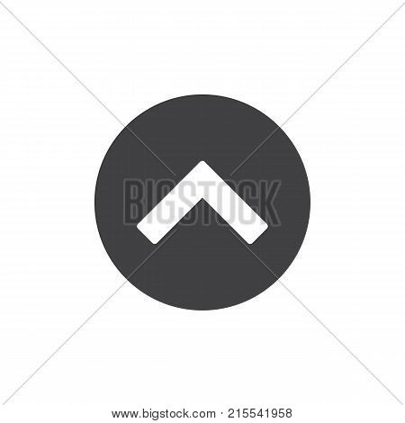 Upper arrow icon vector, filled flat sign, solid pictogram isolated on white. Move forward symbol, logo illustration.
