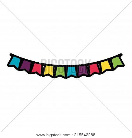 Pennant of banner flag party and decoration theme Isolated design Vector illustration