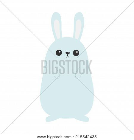 Bunny rabbit. Funny head face. Big ears. Cute kawaii cartoon character. Baby greeting card template. Happy Easter sign symbol. White background. Flat design. Vector illustration