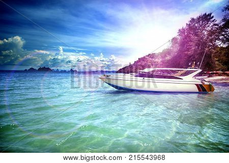 Travel and vacation by the sea. Exotic beaches and boat adventures.Yacht travel.