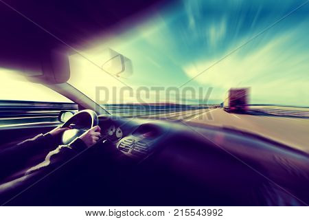 Car speed concept.Motion blur abstract background.Travel by road and highway