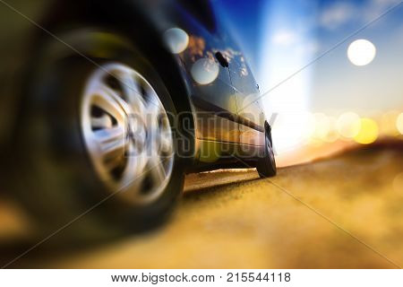 Car and automotive concept.Abstract background speed in auto.Tire and wheel in the road. Driving fast.