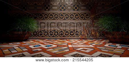 3D image.Interior architecture.Floral wall tiles.Floor ceramic tiles.