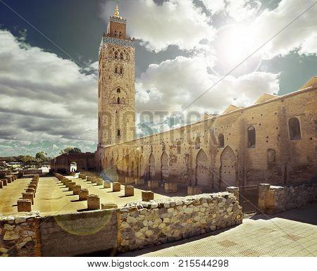 travel concept around the world.Koutoubia mosque Marrakech Morocco.Koutoubia mosque, Marrakesh, Morocco.