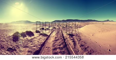 Desert sunset scenery landscape.Adventure and travel concept.Vintage and retro style Zagora desert