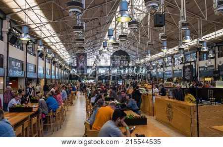 Time Out Market Lisboa (previous Mercado Da Ribeira At Cais) Is A Food Hall Located In Lisbon, Portu