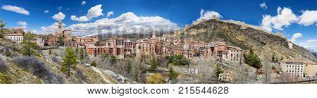 Scenery Spain village.Albarracin.Scenic village landscape.Travel and destinations concept.