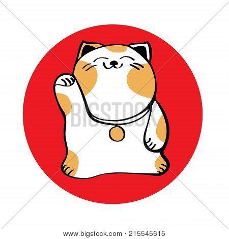 Maneki Neko icon red Good luck talisman